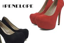 Penelope 593 Γυναικεία Γόβα Suede Μαύρο & Κόκκινο    34.99€