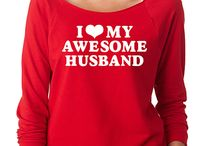 SignatureTshirts Red 'I Love My Awesome Husband' Raglan Tee
