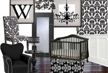 Damask Themed Nursery Decor / Black and White Damask Prints with pink accents. Very feminine feeling.