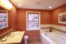 Four New Bathroom Designs in One House in Potomac / This was unique a 1971 home with four bathrooms which had never been updated. Think pink, avocado green! #Bathroom design Potomac, #remodel bathroom potomac