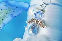 Something Blue Bouquet Charms / Something Blue Bridal Bouquet Charms, Angel Bouquet Charms