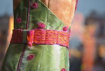 Abito fantasia / Divertente abito in 100% seta, pitturato e ricamato a mano. Dedicato a uno dei simboli della splendida Sicilia.