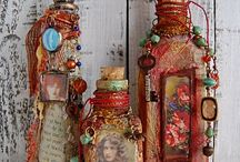 mixed media / altered bottles. jars, etc