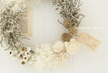 dryflower /beige white wedding