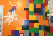 Lego Room and Mural designed by Kid Murals by Dana Railey / Lego lovers everywhere..check this out! over 400 wooden circles attached to the walls to create the amazing 3D Legoland room for this little boy. See the whole room on YouTube at http://youtu.be/3isa-V2NxY0 Painted and designed by www.scottsdalemurals.com or visit us on FB at http:/www.facebook.com/kidmuralsbydanarailey