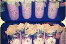 Pink mason jars with flowers / It's a girl / by Erin Hundley