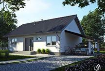 Projekt domu SD5 / Dom jednorodzinny, parterowy z wiatą garażową. Wnętrze domu zostało wyraźnie podzielone na strefę nocną z trzema sypialniami i łazienką oraz część dzienną z dużym salonem połączonym z kuchnią i częścią jadalną. Obok kuchni zlokalizowano pomieszczenie gospodarcze pełniące również funkcję spiżarki. Do domu prowadzi przestronny wiatrołap, gdzie znajdzie się miejsce na szafę wnękową. http://stalowedomy.pl/sd5/