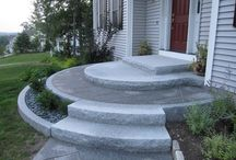 Curved concrete front steps