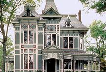 """painted ladies / """"Painted ladies"""" is a term used for Victorian and Edwardian houses and buildings painted in three or more colors that embellish or enhance their architectural details"""".   Wikipedia"""