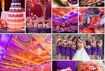 purple and coral wedding