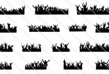 Crowd Cheering Silhouette / A collection of silhouette of a crowd. An editable vector foreground of crowds cheering in black and white perfect for party flyers, concert and music related print advertisements.