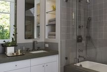 bathroom ideas / Light. Tiles. Glass. Neutral. Simple. Easy to clean. Mid-priced. Confined space. Practical. Storage.