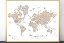 ~ World maps ~ Neutral watercolor world maps with countries and states
