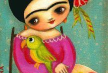 Frida con loros y palomas