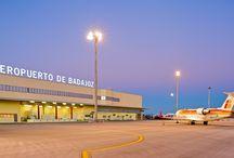 Aeropuerto de Badajoz / El aeropuerto de Badajoz está situado a 14 kilómetros de la ciudad y a 45 kilómetros de Mérida, en el término municipal de Badajoz.