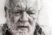 Yaşlı adam karakalem