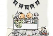 Geboortekaartjes tweeling / Koningkaart heeft een prachtige collectie met geboortekaartjes voor een tweeling.