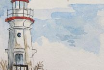 Lighthouses Water Colour