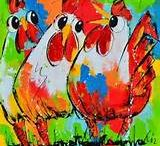 vrolijke schilderijen kippen