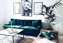 Boho Living / My absolute favourite interior style. A beautiful mix of classic black and white with interesting textures and materials to break it all up.
