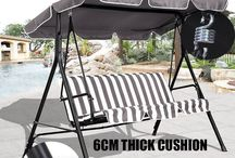 Metal Swing Outdoor Set XL Garden Patio Seat 3 Seater Bench Cushion Backyard Fun