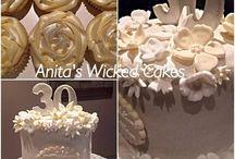 Pearl wedding anniversary cake and cupcakes