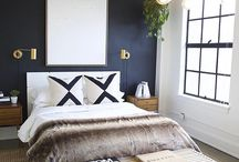 Navy white bedroom