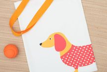 Jolie Dog bags / Hand printed with a cute dog design or letter of your choice, these bags are big enough to hold everything you and your dog need. 100% cotton shoulder bags and handmade in the UK.