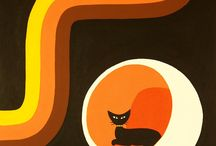 Black Cat - Mid Century Modern Art