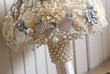 button pearl bouquets bridal