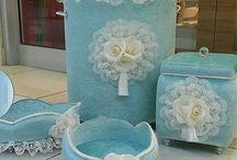 kadife kumaştan  banya dekorasyon kutuları
