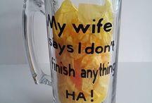 Beer mug and wine glasses