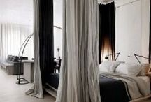 canoby bed black  curtains