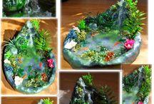 Fairy garden with a river