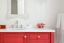 Bathroom / Love this color and the ceiling! Yay!
