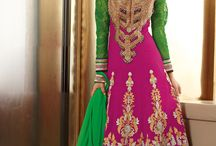 Pretty in Pink / Cute, chic and classy...let's revisit the Mughal era by sporting these beautiful and elegant Anarkali Salwar Kameez in hues of pink. Fashionable and eternally feminine color, pink is the color for every season.