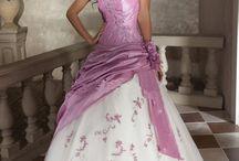 Svatební šaty - bílá/růžová, fialová