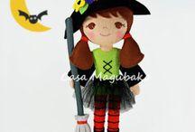 Halloween / Halloween creations: witch dolls, sugar skulls, ghosts, jack-o-lanters, vampires, bats, black cats and more. Orange, purple, black, yellow, autumn, fall.
