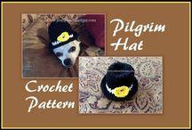dog pilgrim hat. crochet