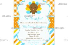 Blue and Orange Turkey Thanksgiving Baby Shower / This design features a cute turkey on an orange diagonal gingham background. There is a blue border and a blue, yellow and orange ribbon.