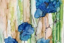 aqvarel viràgok