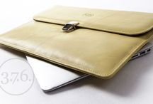 "3.7.6. RL Envelope for MacBook Air 13"" - black and pastel lime yellow natural leather / Natural leather, fits MacBook Air 13"". Slim pockets for cables, pens an cell phone. www.376west.com"