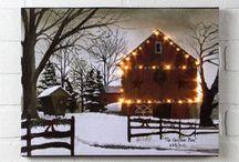Christmas is a Coming Decor / Christmas LED lite canvas wall art.