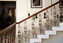 India / sunshine, sandstone, archways, columns, tiles, flooring, colourful, peeling, ornate