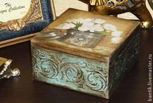 decoupage and painted boxes