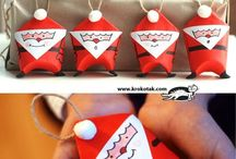 Santa ornaments made out of empty toilet rolls
