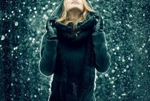 Woman outdoor snow