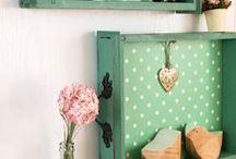 Déco ancien tiroir et boîte bois