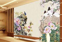 Papier peint tapisserie asiatique - Les pivoines