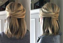 Opsteekkapsel half lang haar